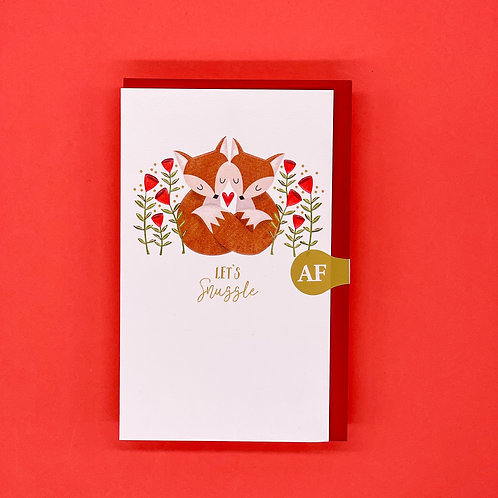 Let's Snuggle Foxes Valentines Card