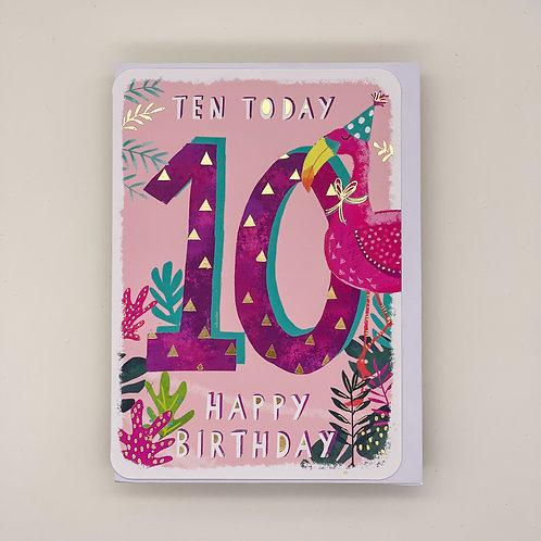 10th Birthday Flamingo Card