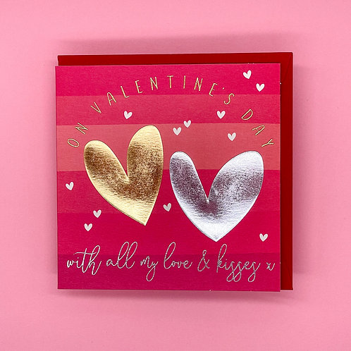 Silver And Gold Heart Valentines Card