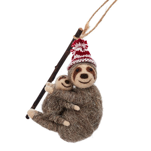Mummy And Baby Sloth Hanging Christmas Decoration
