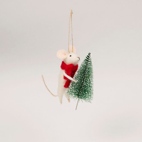 Felt Mouse With Christmas Tree Hanging Decoration