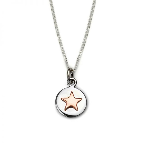 Rose Gold Good Luck Star Circle Necklace