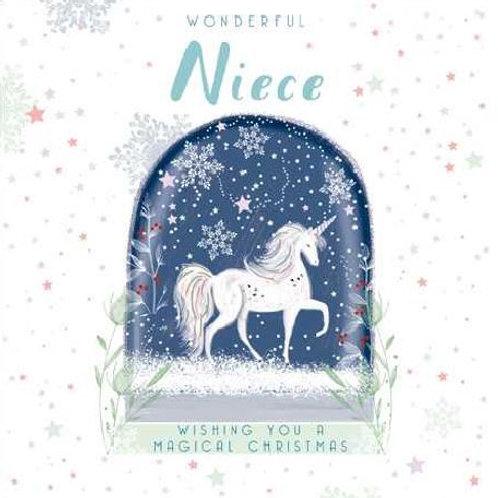 Unicorn in a Snow Globe Niece Christmas Card