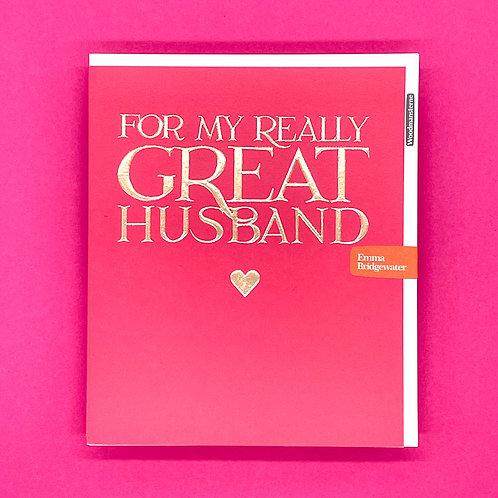 Emma Bridgewater Really Great Husband Valentines Card