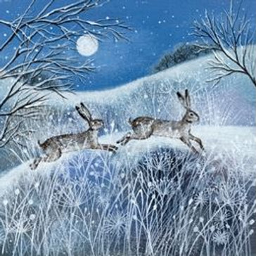Moon, Snow & Hares Christmas Card Pack of 5