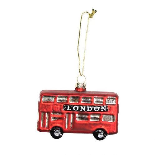 London Bus Glass Tree Decoration