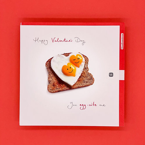 You Egg-cite Me Valentines Card