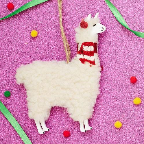 Woolly Llama Christmas Decoration