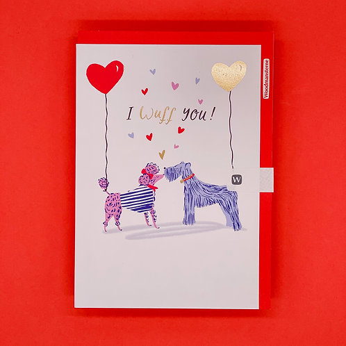 Poodles With Balloons Valentines Card