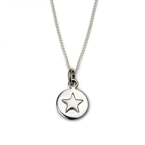 Good Luck Silver Star Circle Necklace