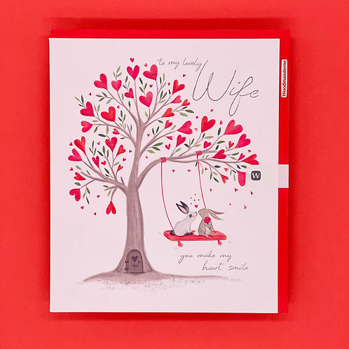 Wife You Make My Heart Smile Valentines Card