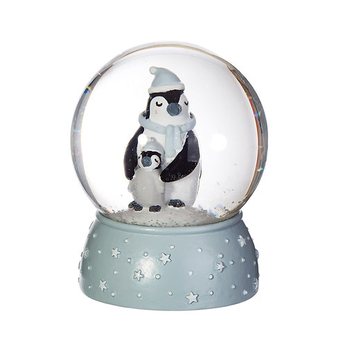 Mum And Baby Penguin Snow Globe