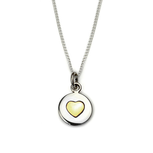 Gold Heart Circle Love Necklace