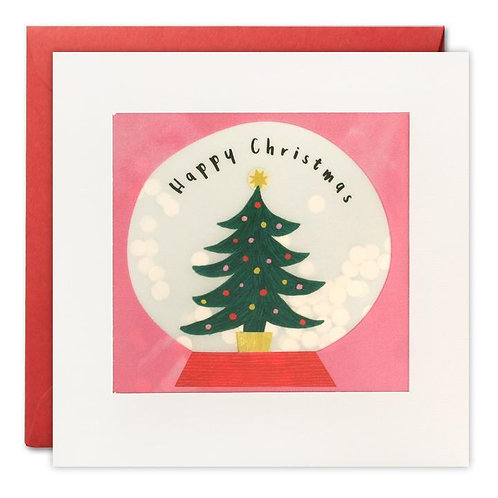 Christmas Tree in Snow Globe Christmas Card