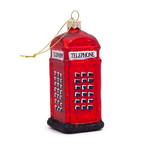 Telephone Box Glass Christmas Decoration.