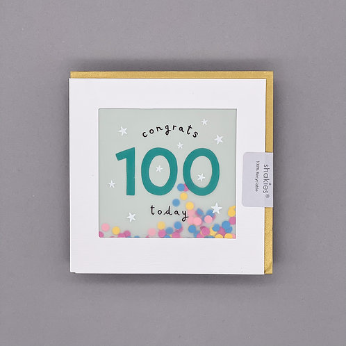 100th Birthday Paper Shakies Card