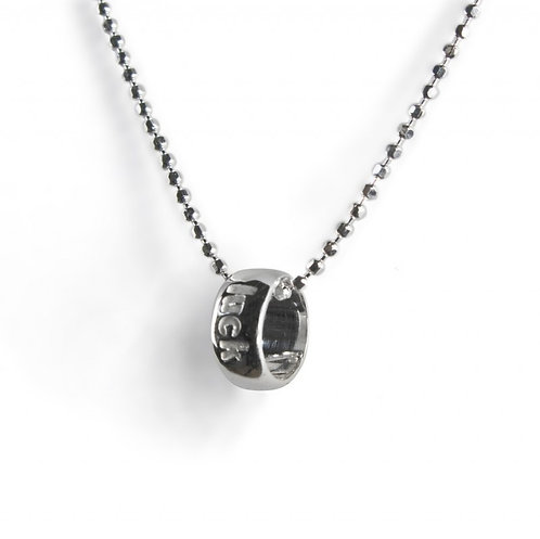 Word Circle Silver Luck Necklace