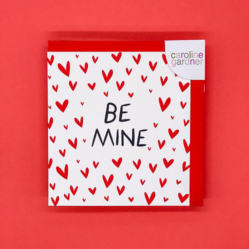Be Mine Red Hearts Valentines Card