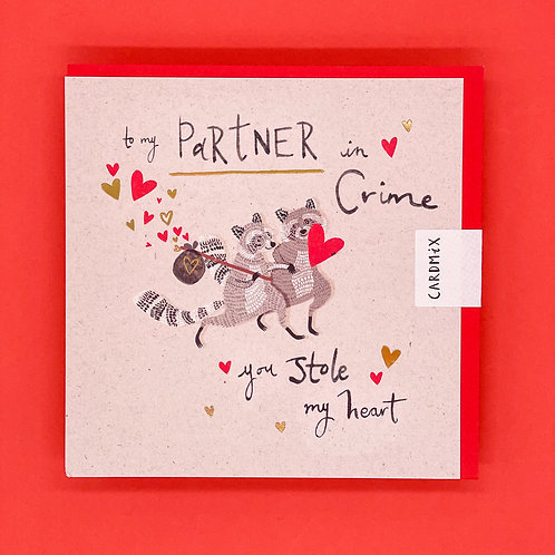 Raccoons Partner In Crime Valentines Card