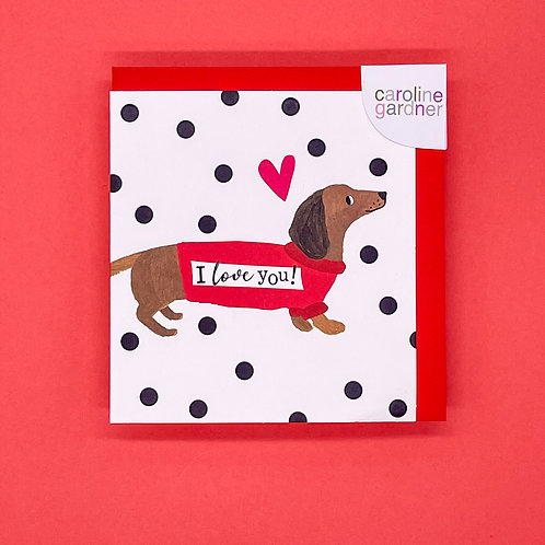Dachshund I Love You Valentines Card