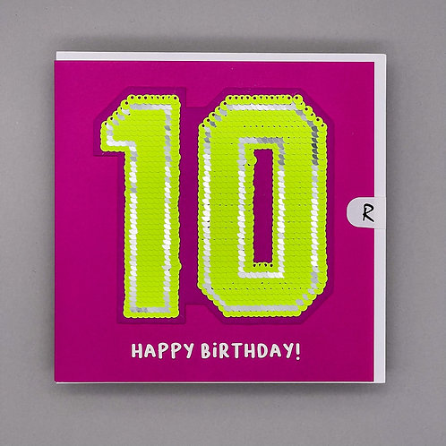 10th Birthday Sequin Patch Card