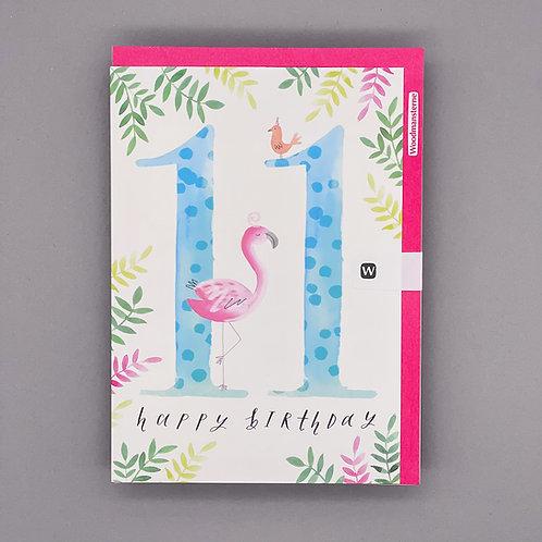 11th Birthday Flamingo Card
