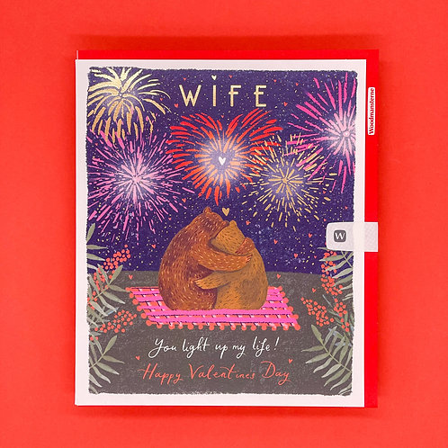 Wife You Light Up My Life Valentines Card
