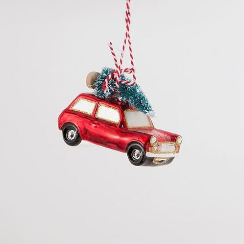 Red Car With Christmas Tree hanging Decoration