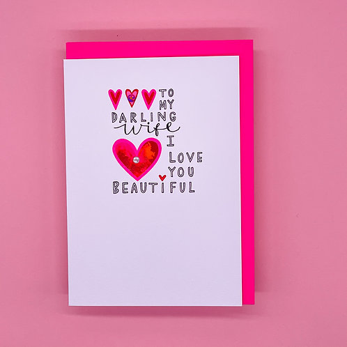 Wife I Love You Beautiful Valentines Card