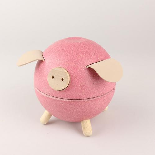 Pink Pig Wooden Money Bank
