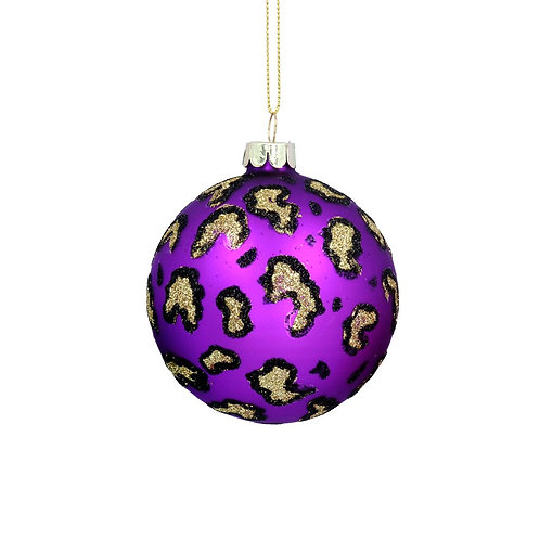 Purple Leopard Print Glitter Bauble