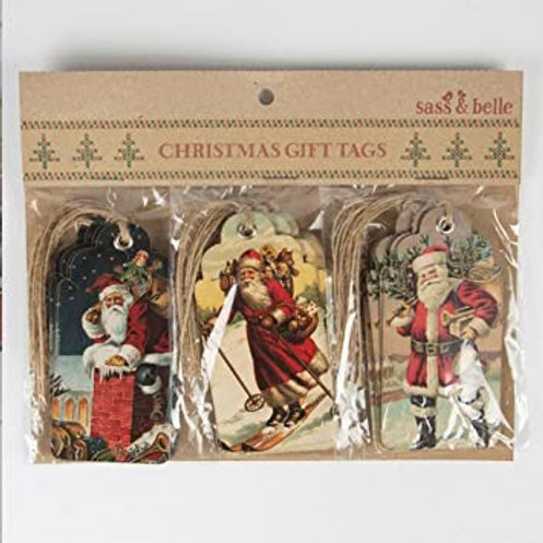 Vintage Father Christmas Tags Set of 15