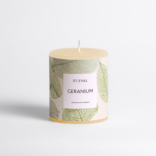 St Eval  Garden Of Eden Geranium Pillar Candle