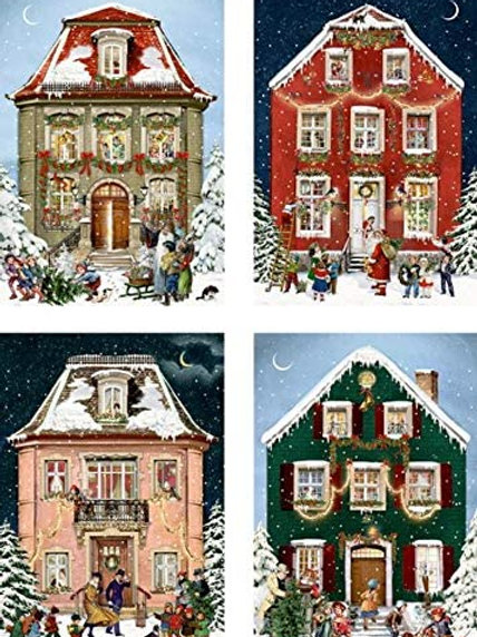 Victorian Houses Advent Calendar Card