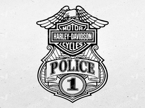 Harley Davidson Motorcycle Police Badge | SVG Cut File