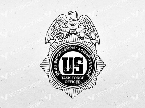 DEA Drug Enforcement Administration Task Force Officer Badge | SVG Cut File