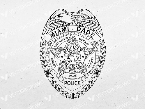 Miami Dade Florida Sheriff's Badge  | SVG Cut File