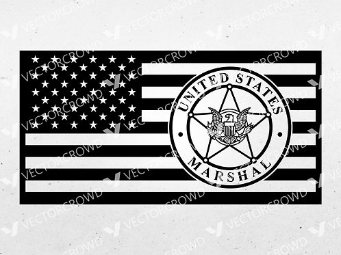 United States Marshals American Flag  | SVG Cut File