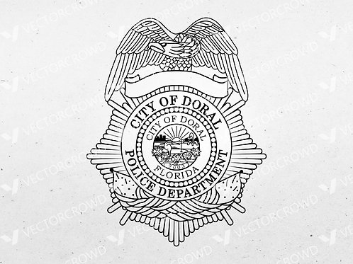 Doral Florida Police Officer Badge | Vector Image