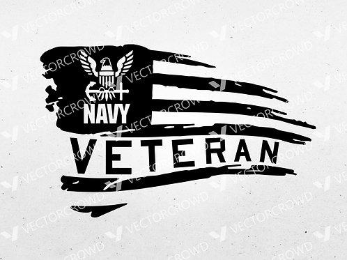 U.S. Navy Veteran Horizontal USA American Flag | SVG Cut