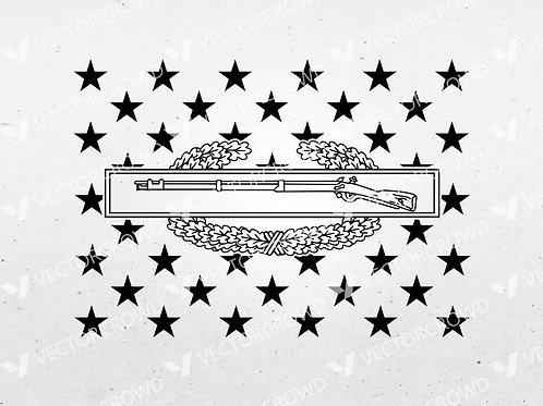 U.S. Army Combat Infantryman CIB Badge Union American Flag | SVG Cut File