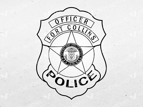 Fort Collins Colorado Police Officer Badge | Vector Image