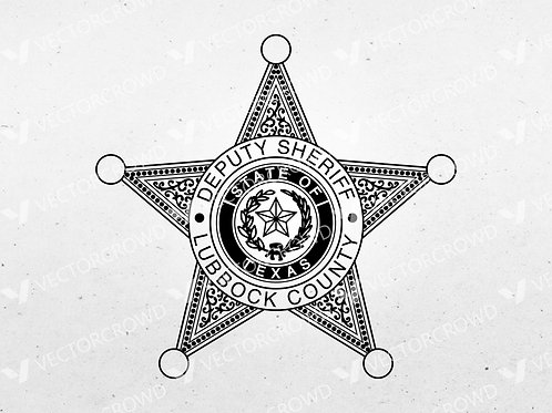 Lubbock County Texas Sheriff Department Badge   SVG Vector Image