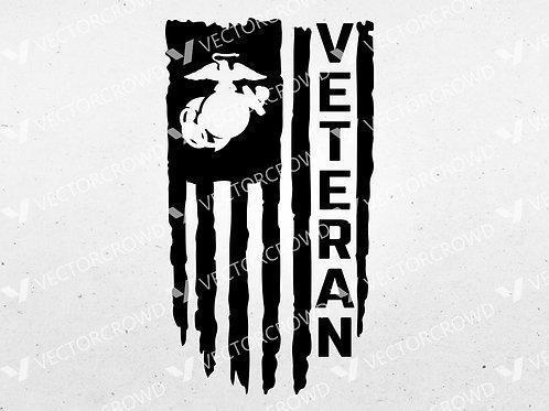 Marines USMC Veteran Distressed USA American Flag | SVG Cut File