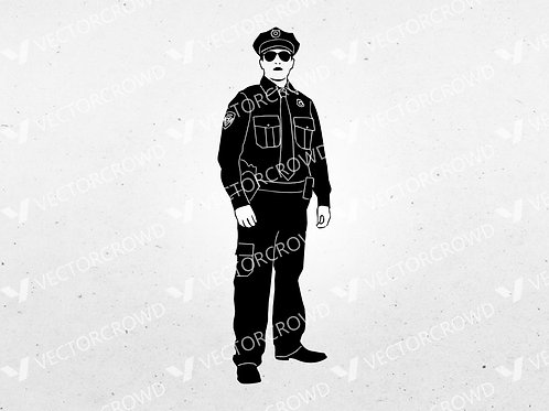 Cop #5 Policeman Standing Silhouette | SVG Cut File