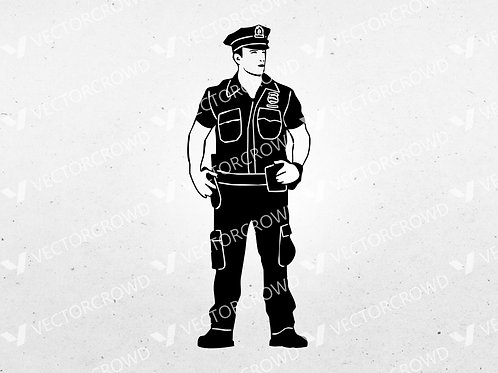 Cop #2 Policeman Standing Silhouette | SVG Cut File