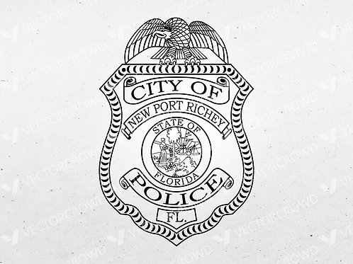 New Port Richey Florida Police Department Badge | Vector Image