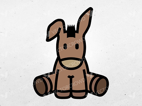 Cartoon Donkey Sitting | Vector Images | VectorCrowd