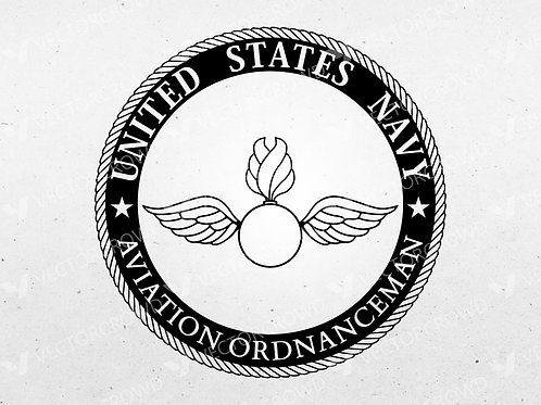 US Navy Aviation Ordnanceman AO Rating Badge Seal | SVG Cut File | VectorCrowd