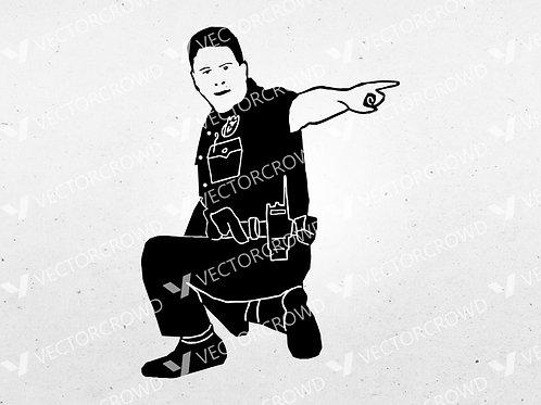 Cop #4 Policeman Kneeling Silhouette | SVG Cut File